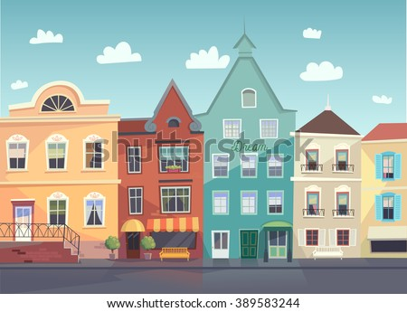 Sunny City street. Doors and windows boutiques shops background. Vector. & Sunny City Street Doors Windows Boutiques Stock Vector 389583244 ... pezcame.com
