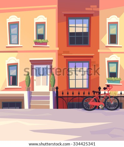 Sunny city street with a City Bicycle Basket. Vector illustration - stock vector