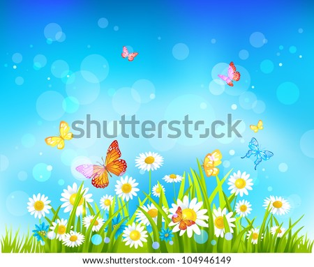 Sunny day vector background with flowers and butterflies with space for text. - stock vector