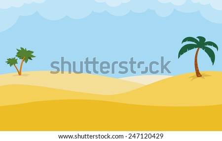 Sunny desert background with palm trees on rolling golden sand dunes under a hot blue tropical sky, illustration - stock vector