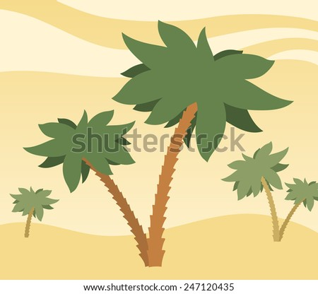 Sunny desert background with palm trees on rolling golden sand dunes under a hot sky, illustration - stock vector