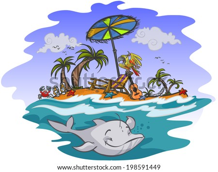 Sunny exotic beach illustration in cartoon style. All is in separated layers.
