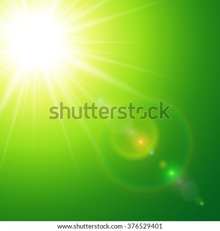 Sunny green natural  background with sun and lens flare.  - stock vector