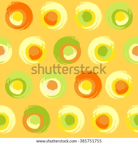 Sunny Grunge Circles Repeat. Seamless pattern of grunge multicoloured circles on yellow-orange background. - stock vector