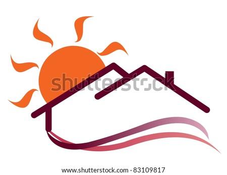 Sunny house sign - stock vector