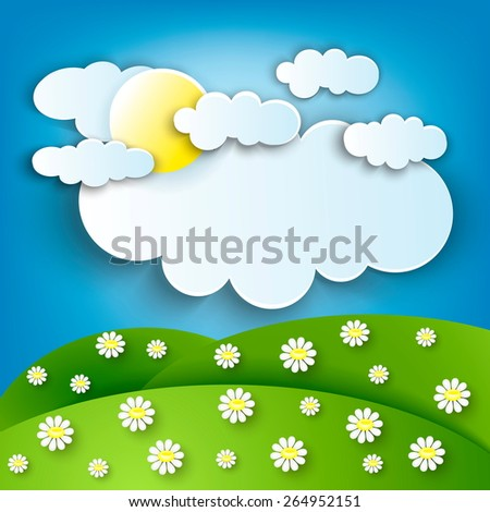 Sunny Meadow landscape of vector illustration - stock vector