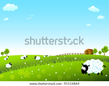Sunny meadow with sheep - stock vector