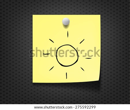 sunny on yellow note paper  - stock vector