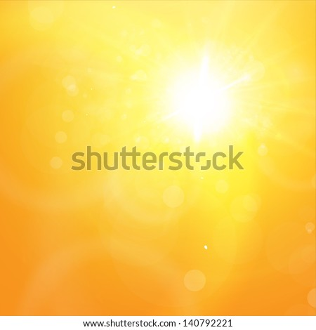 Sunny orange summer background for bright design. Lens flare. Vector eps10 illustration - stock vector