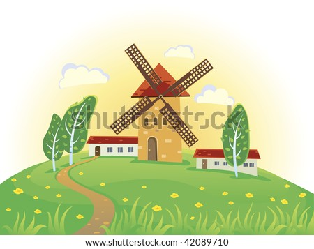 Sunny rural landscape with windmills - stock vector