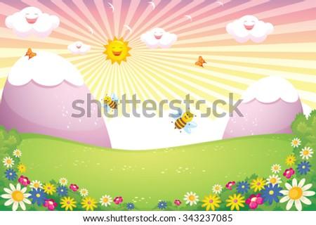 Sunny Spring Landscape Vector - stock vector