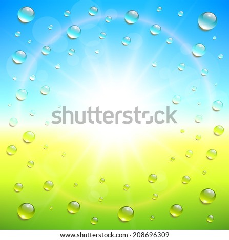 Sunny summer background, with water drops, vector illustration. - stock vector