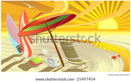 Sunny summer tropic beach vector illustration - stock vector