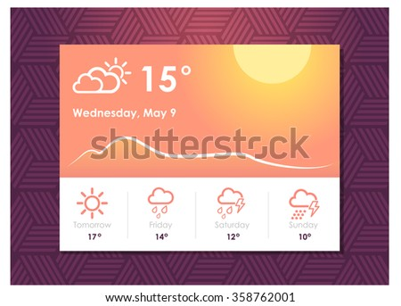 Sunny weather widget. UI element. Weather forecast - stock vector