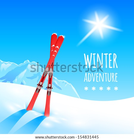 Sunny winter landscape with skies, vector illustration, eps10. - stock vector