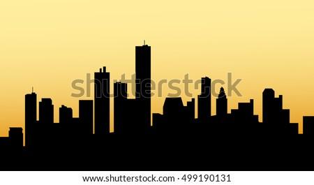 sunrise houston city skyline vector stock vector 499190131 rh shutterstock com city skyline vector art free skyline city vector