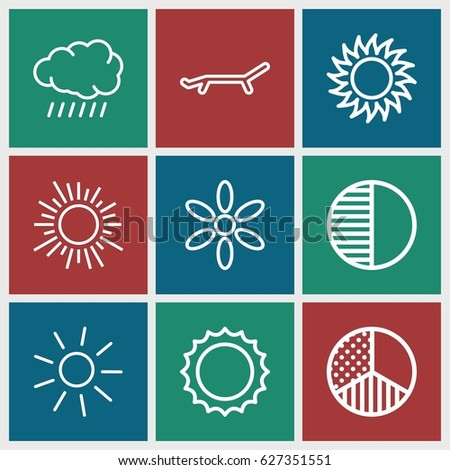 Sunrise icons set. set of 9 sunrise outline icons such as sun