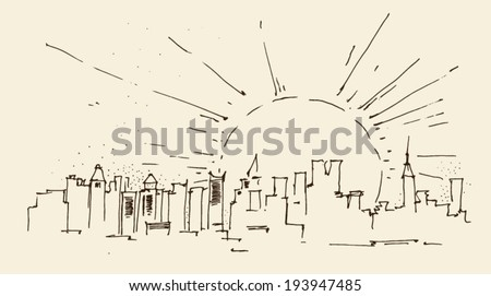 sunrise in New York city architecture, vintage engraved illustration, hand drawn, sketch - stock vector