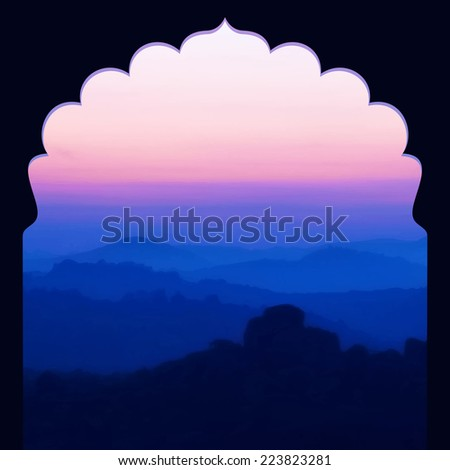 Sunrise in the mountains landscape. Indian style frame. Vector illustration. - stock vector
