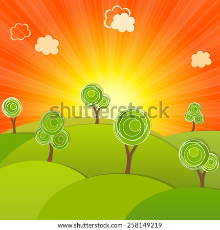 Sunrise. Landscape hill and tree, on the background of the rising sun. Vector illustration modern template design. - stock vector