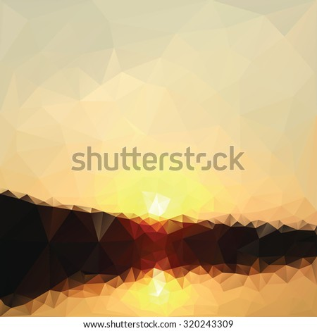 Sunrise low poly effect abstract vector background. - stock vector