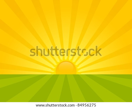 Sunrise on the countryside. Summer sunny day. - stock vector