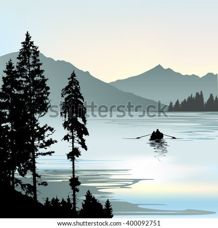 Sunrise on the lake during foggy day - vector illustration