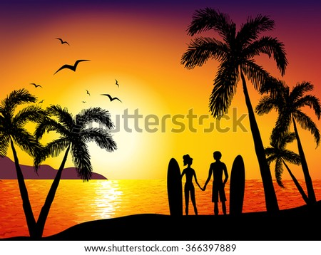 Sunrise on the sea. Holiday and tropical romantic background with sun , sea, people and palm tree.