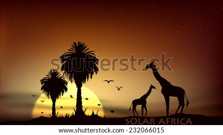 sunrise over the African savanna giraffe and palm trees - stock vector