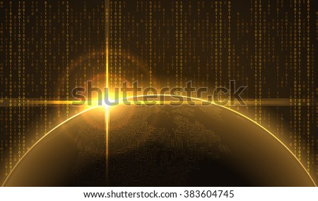 Sunrise over the Earth with circuit continents in cyberspace. Vector Background, EPS10. - stock vector