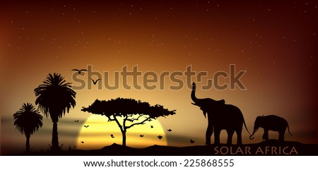 sunrise over the savannah with African elephants and trees - stock vector