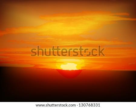 Sunrise sunset landscape - stock vector