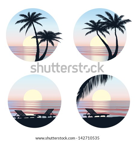 Sunrise view at resort. Relaxing in the evening on beach with palm tree. Vector icons set. - stock vector