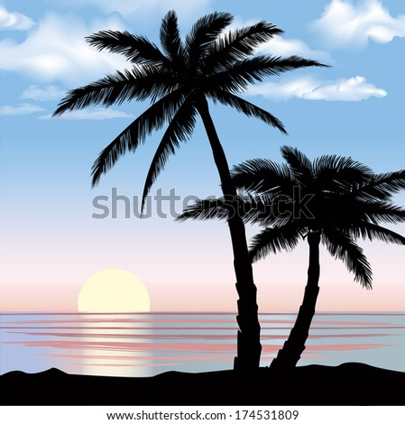 Sunrise view at resort. Summer holiday landscape. Palm trees at ocean beach. - stock vector