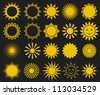 suns - elements for design (set of vector suns, suns collection) - stock