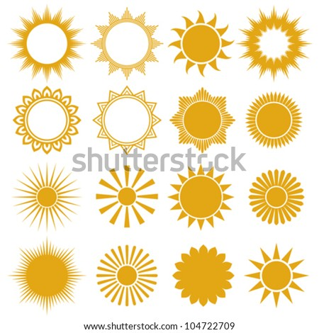 suns - elements for design (set of vector suns, suns collection) - stock vector