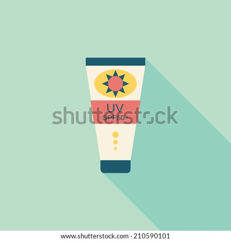 Sunscreen flat icon with long shadow - stock vector