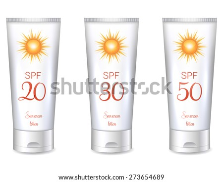 Sunscreen lotion bottles SPF, from lower till very high protection. - stock vector