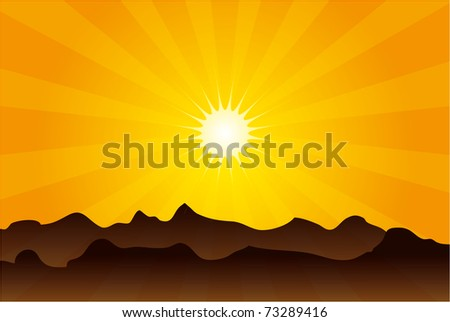 sunset - stock vector