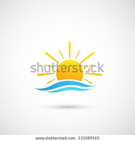 sunset and  sea waves vector - stock vector