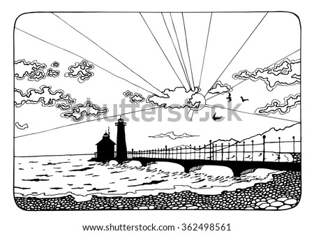 Sunset And The Lighthouse Coloring Page For Adults Antistress