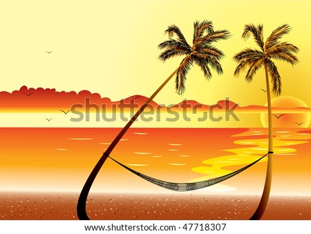 Sunset at Beach Shore and hammock with palm