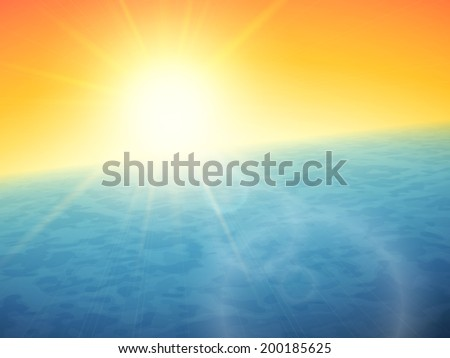 Sunset at sea, horizon with summer sun, blue ocean and clear orange sky, vector background illustration
