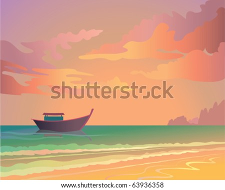 Sunset at sea with boat and islands - stock vector