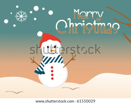 sunset background with isolated snowman