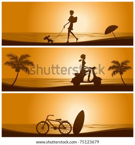 Sunset banner set. Illustration vector. - stock vector