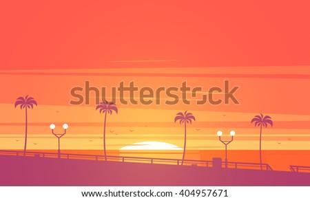 Sunset beach. Vector illustration. - stock vector