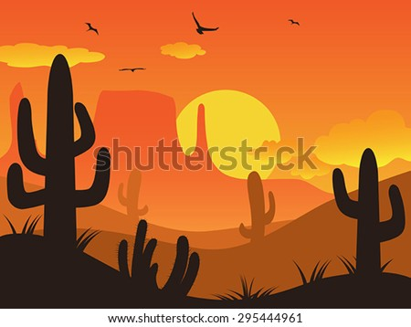 sunset cactus desert - stock vector