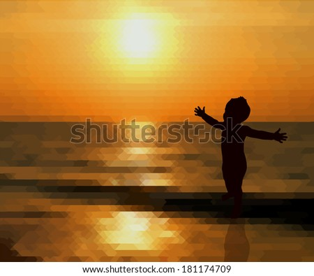 Sunset child with open arms. Vector