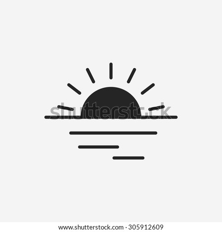 sunset icon - stock vector